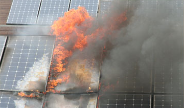 solar panels burning